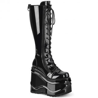 "Demonia WAVE-200 6"" Wedge PF Lace-Up Knee High Boot Back Metal Zip"