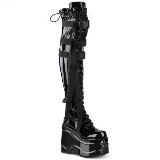 "Demonia WAVE-315 6"" Wedge PF Lace-Up Stretch Thigh Boot Side Zip"