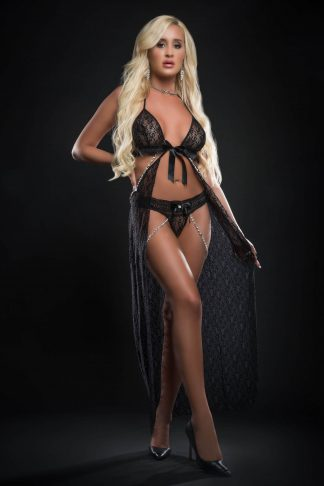 2pc Cut Out Open Front Flyaway Night Gown Adorned by Pearl Chains & Panty