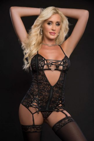 3pc Lace Up Plunge Garter Slip With Open Cups Zipper & Stockings