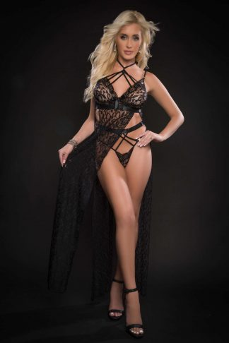 2pc Strappy Halter Laced Night Gown With Sides Slits & Open Back