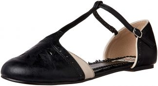 """BP100-NANCY 1"""" T-Strap Flat Shoe With Cutout Decor"""