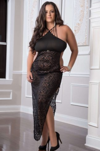 2pc Shoulder-Baring Laced Night Dress