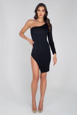 3950 Single Shoulder Split Bodycon Dress