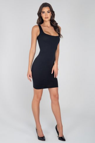 3956 Basic Above The Knee Ribbed Dress