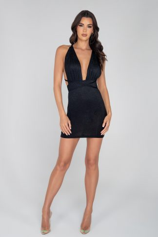 3959 Glitter Cocktail Dress with Criss-Cross Strap