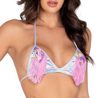 6018 Shiny Bikini Top with Fringe Detail