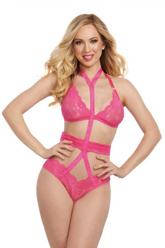 12364 Two-Piece Strappy Elastic Bralette And Garter Panty