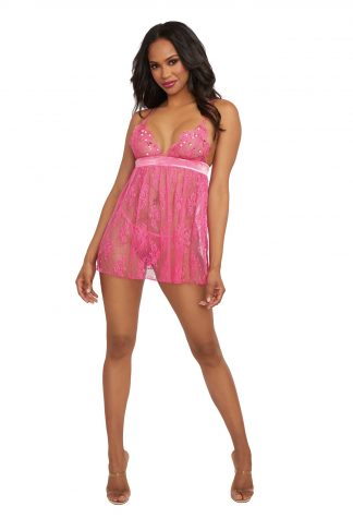 12381 Sequin Embroidery And Delicate Lace Babydoll Set