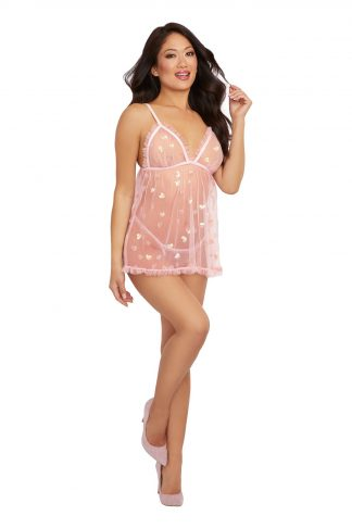 12394 Sheer Delicate Mesh Babydoll With Sequins Hearts